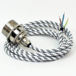 Textilkabel Lampenpendel schwarz-weiß mit E27 Vintage Metall-Fassung Nickel matt