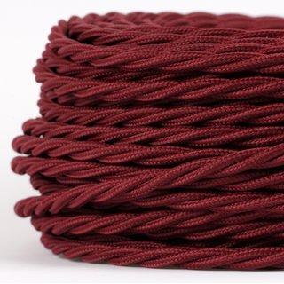 Textilkabel Stoffkabel bordeaux 3-adrig 3x0,75 gedreht verseilt einzeln umflochten