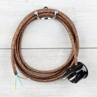 Textilkabel Anschlussleitung Zuleitung 2-5m braun metallic mit Schutzkontakt-Winkelstecker