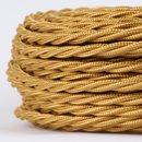 Textilkabel Stoffkabel gold 3-adrig 3x0,75 gedreht...