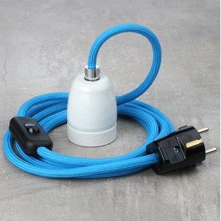 Textilkabel Lampenpendel blau mit E27 Porzellanfassung Schnurschalter und Schutzkontakt-Stecker schwarz