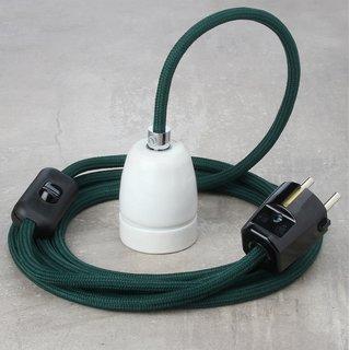 Textilkabel Lampenpendel dunkelgrün mit E27 Porzellanfassung Schnurschalter und Schutzkontakt-Stecker schwarz