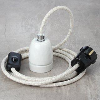 Textilkabel Lampenpendel kiesel mit E27 Porzellanfassung Schnurschalter und Schutzkontakt-Stecker schwarz