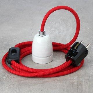 Textilkabel Lampenpendel rot mit E27 Porzellanfassung Schnurschalter und Schutzkontakt-Stecker schwarz