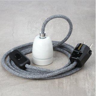 Textilkabel Lampenpendel steingrau mit E27 Porzellanfassung Schnurschalter und Schutzkontakt-Stecker schwarz