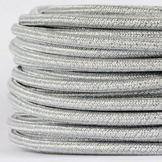 Textilkabel Stoffkabel silber metallic 3-adrig 3x0,75 Gummischlauchleitung 3G 0,75 H03VV-F textilummantelt