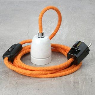 Textilkabel Lampenpendel orange mit E27 Porzellanfassung Schnurschalter und Schutzkontaktstecker schwarz