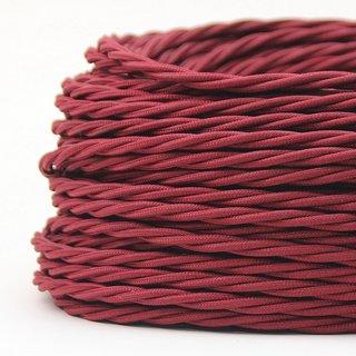 Textilkabel Stoffkabel bordeaux 2-adrig 2x0,75 gedreht verseilt einzeln umflochten