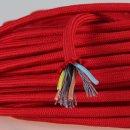 Textilkabel Stoffkabel rot 3-adrig 3x0,75 Zug-Pendelleitung S03RT-F 3G0,75