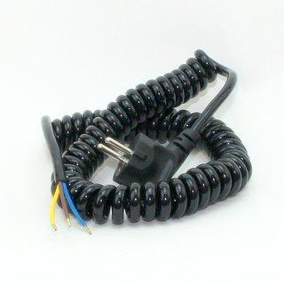 Spiralkabel Schutzkontakt Wendelleitung schwarz 3x1,0 mm² dehnbar bis 2,5 Meter