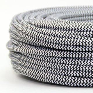 Textilkabel schwarz-weiß Zick-Zack Muster 2-adrig 2x0,75 Gummischlauchleitung textilummantelt
