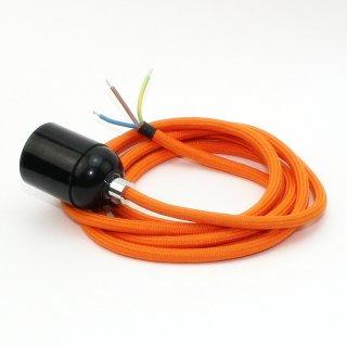 Textilkabel Lampenpendel orange mit E27 Bakelit Fassung schwarz Zugentlaster Metall chrom