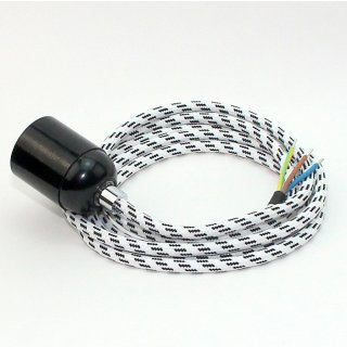 Textilkabel Lampenpendel schwarz-weiß mit E27 Bakelit Fassung schwarz Zugentlaster Metall chrom