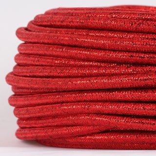 Textilkabel Stoffkabel rot metallic 3-adrig 3x0,75 Gummischlauchleitung 3G 0,75 H03VV-F textilummantelt