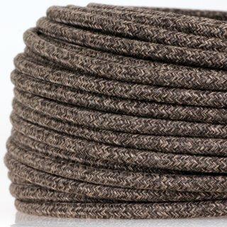 Textilkabel Stoffkabel braun meliert 3-adrig 3x0,75 Gummischlauchleitung 3G 0,75 H03VV-F textilummantelt