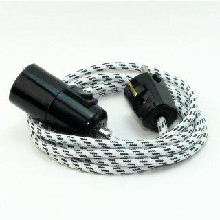 Textilkabel Pendel schwarz-weiß E27 Bakelit Vintage Fassung mit Schalter schwarz und Schutzkontakt-Stecker