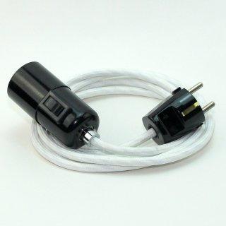 Textilkabel Pendel weiß E27 Bakelit Vintage Fassung mit Schalter schwarz und Schutzkontakt-Stecker