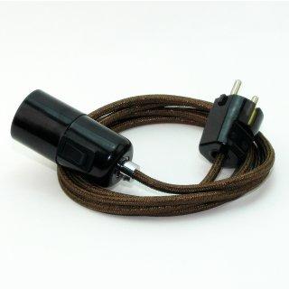 Textilkabel Pendel braun metallic E27 Bakelit Vintage Fassung mit Schalter schwarz und Schutzkontakt-Stecker
