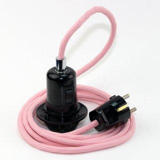 Textilkabel Pendel rosa E27 Bakelit Vintage Fassung Teilgewindemantel mit Schalter schwarz und Schutzkontakt-Stecker