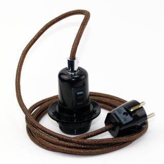 Textilkabel Pendel braun metallic E27 Bakelit Vintage Fassung Teilgewindemantel mit Schalter schwarz und Schutzkontakt-Stecker