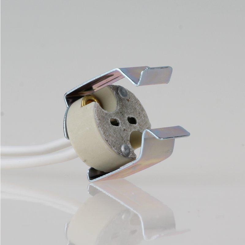 12 volt niedervolt halogen fassung gu5 3 mit halterung f r refle. Black Bedroom Furniture Sets. Home Design Ideas