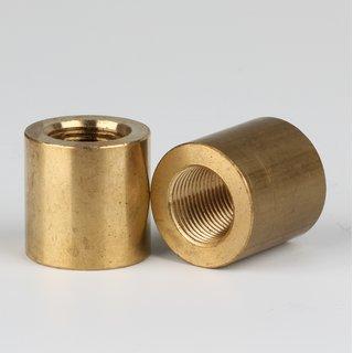 Verbindungs-Muffe Gewinde-Adapter Messing roh M13x1 Innengewinde auf M13x1 Innengewinde 20x20mm