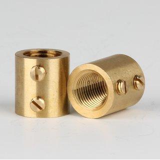 Verbindungs-Muffe Messing roh M10x1 Innengewinde 14x15mm mit 2xM4 Quergewinde