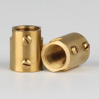 Verbindungs-Muffe Messing roh M10x1 Innengewinde 14x17mm mit 2xM4 Quergewinde SW12x4