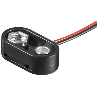 Batterieclip für 9 Volt Block T-Form mit Anschlußkabel spritzwassergeschützt