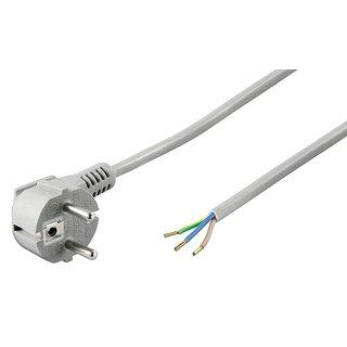 1,5 m Netzkabel Anschlusskabel 3x0,75mm² grau mit Schutzkontakt Winkel-Stecker