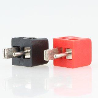 Mini DIN Lautsprecher-Stecker rot und schwarz abgewinkelt mit Schraubanschluss