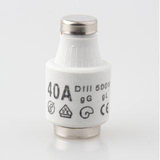 10 x Diazed Sicherungs Schmelzeinsatz DIII 40A 500V