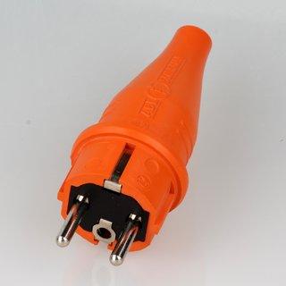 PVC Schutzkontakt-Stecker Gummistecker orange 250V/16A spritzwassergeschützt IP44