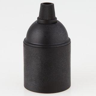 E27 Kunststoff Fassung schwarz ohne Außengewinde Zugentlaster Quetschv. schwarz