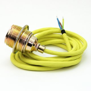 Textilkabel Lampenpendel gelb E27 Metallfassung inkl. Klemmnippel Zugentlaster Metall vermessingt