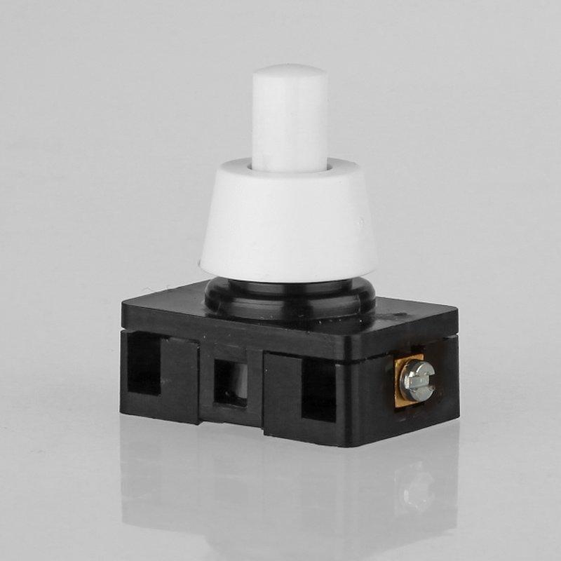 lampen einbauschalter einbau druckschalter weiss 230v 6a 2a 8 mm achse 1 polig 3 95. Black Bedroom Furniture Sets. Home Design Ideas