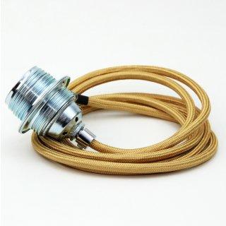 Textilkabel Lampenpendel gold E27 Metallfassung inkl. Klemmnippel Zugentlaster Metall verchromt