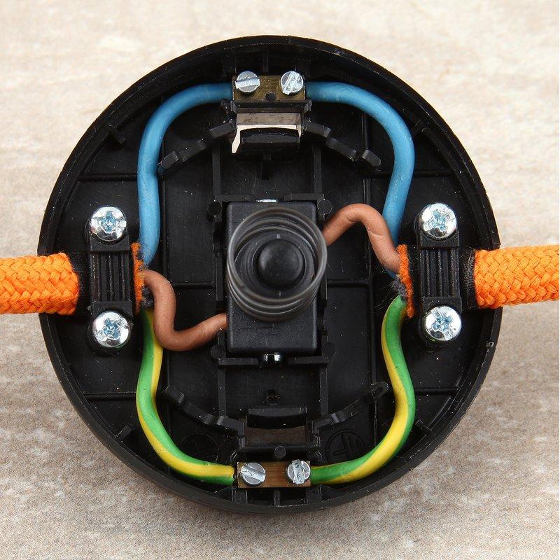 1-pol. Tret-Schalter für 2- und 3-adrige Lampenkabel Fußschalter 250V 2A