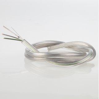 PVC Lampenkabel Rundkabel transparent 3-adrig, 3x0,75mm² mit integriertem Stahlseil als Zugentlastung