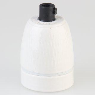 E27 Premium Porzellanfassung glasiert mit Kunststoff Zugentlaster schwarz 250V/4A M10x1 IG