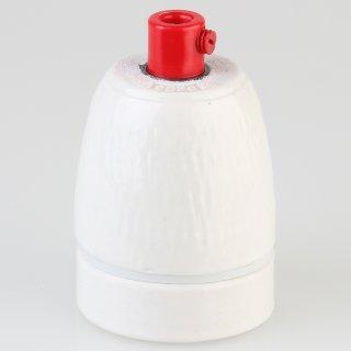 E27 Premium Porzellanfassung glasiert mit Kunststoff Zugentlaster rot 250V/4A M10x1 IG