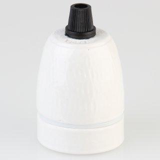 E27 Premium Porzellanfassung glasiert mit Kunststoff Zugentlaster schwarz mit Quetschverbindung 250V/4A M10x1 IG