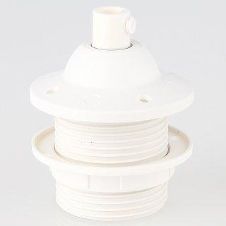 E27 Kunststoff Dachfassung weiß mit Außengewinde Zugentlaster und Schraubring