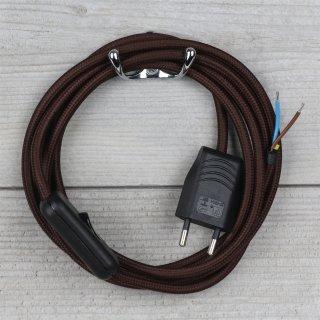 Textilkabel Anschlussleitung 2-5m braun mit Schalter und Euro-Flachstecker