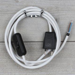 Textilkabel Anschlussleitung 2-5m weiß mit Schalter und Euro-Flachstecker