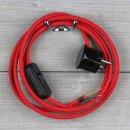 Textilkabel Anschlussleitung 2-5m rot mit Schalter u....