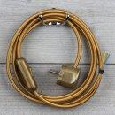 Textilkabel Anschlussleitung 2-5m gold mit Schalter u....
