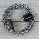 Textilkabel Anschlussleitung 2-5m schwarz-weiß...