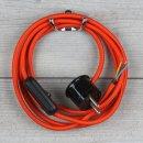 Textilkabel Anschlussleitung 2-5m orange mit Schalter u....