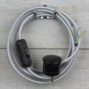 Textilkabel Anschlussleitung 2-5m silber Schalter u....